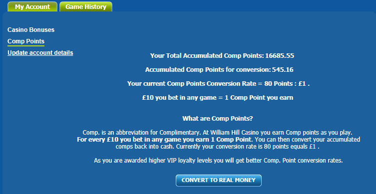 Does william hill have comp points expire