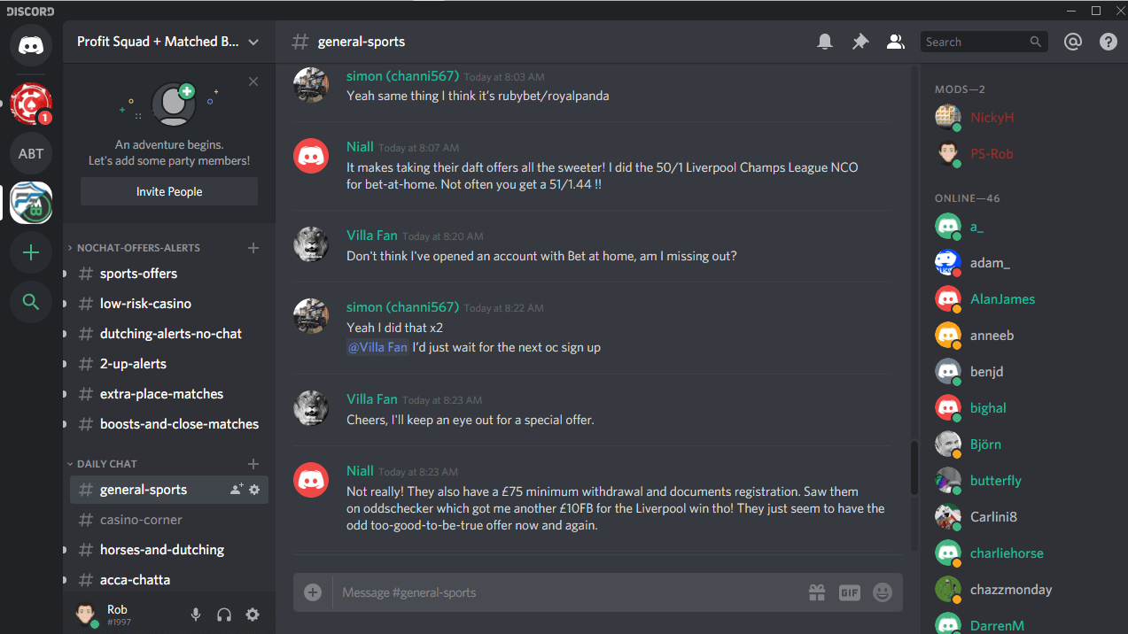 matched betting discord